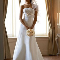 David`s Bridal Wedding Dress: Satin Trumpet Gown with Beaded Metallic Lace Style T9395 $199.99