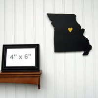 "Missouri Tigers ""State Heart"" wall art, handcrafted wood with official team colors"