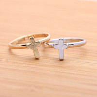 CROSS ring(adjustable), in silver