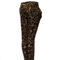 Ladies Brown Animal Print Pocket Leggings $17.00