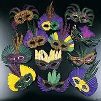 12 Feather Mardi Gras Masks Costume Party Masquarade $16.00