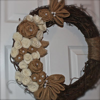 Grapevine Wreath /Felt Flowers /