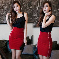 Chic Womens OL High Waist Fitted Formal A-line Above Knee Mini Skirt Dress 4692