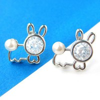 Bunny Rabbit Animal Stud Earrings with Rhinestones and Pearls