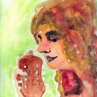 Music Artwork Woman and Mandolin Watercolor 8x10