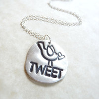 Bird with heart Tweet twitter silver pendant, made from recycled silver