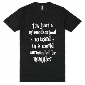 Misunderstood Wizard-Unisex Athletic Black T-Shirt