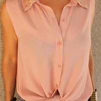 Studded Collar 'Lizzie' Blouse (Dusty Rose)