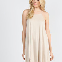 Double Layered Cami Swing Dress - Taupe