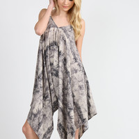 Abstract Print Side Draped Romper