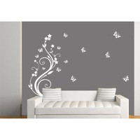 Rising Swirl and Butterfly Wall Art Vinyl Stickers, Living Room, Office, Bedroom, Sizes and Colours Available, Apply in 5 minutes, FREE Applicator - Large 110cm x 60cm White: Amazon.co.uk: Kitchen  Home