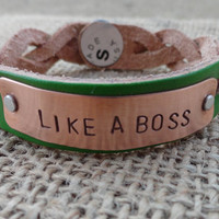 Braided Leather Bracelet - Hand Stamped &quot;Like A Boss&quot;