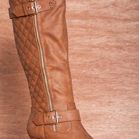 Forever Majestic Mod Low Heel Quilted Back Two Zipper Boots Elvina-22 - Tan