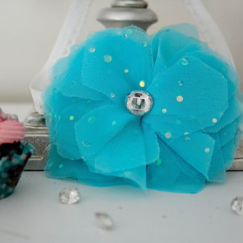 Girls Turquoise Flower Headband TALLULAH  Aqua Fabric Flower Headband  Sequins Rhinestone