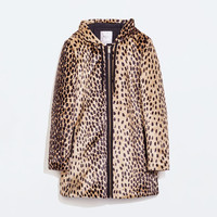 Animal print furry parka
