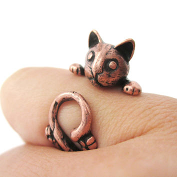Creepy Kitty Cat Shaped Animal Wrap Around Ring in Copper | US Size 5 to Size 8.5 -
