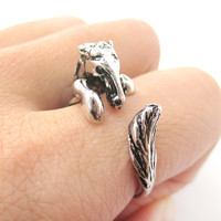 Detailed Horse Pony Animal Wrap Around Ring in Shiny Silver | US Size 4 to 9 -