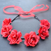 Rose Headband - Flower Headband - Red Roses - Valentines Day - Gift for Her - Festivals - Raves - Hippie Headband