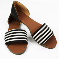 Colleyville Black & White Flat Sandals