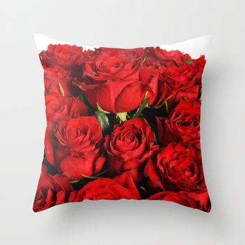 Red Roses Throw Pillow by Erika Kaisersot