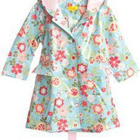 Pluie Pluie Blue Floral Unlined Raincoat by Pluie Pluie Rain Gear and Rain Coats $37.00