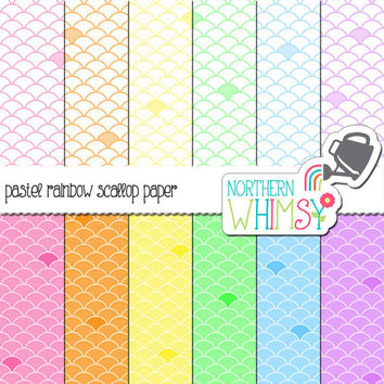 Pastel Scallop Digital Paper Pack – pastel scrapbook papers for invitations, card making, web backgrounds, etc – instant download – CU OK
