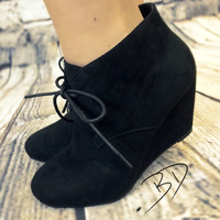 Sally Lace-Up Faux Suede Wedge Bootie