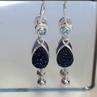 Blue Topaz with Blue  Drusy Teardrop Earrings on Sterling silver earwires