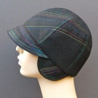Black Felt fabric Cloche embroidered with Multicolor by IDHatShop