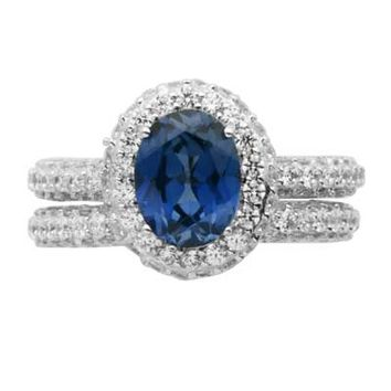 Oval Lab-Created Blue and White Sapphire Fashion Ring Set in Sterling Silver