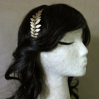 Laurel Headband - Bright Metallic Gold Leafed Fern Branch on Slim Black Metal Band - Woodland Garden Bridal Formal Gift