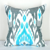 Grey and turquoise blue Pillow cover Ikat- Fabric hand loomed- Used natural dyes