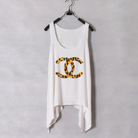 Leopard Chanel - Women Tank Top - White - Sides Drop - Fixed Cut