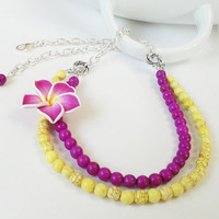 Bright 2 Layered Yellow Purple Turquoise With Soft Clay Plumeria/Frangipani Flower Necklace