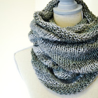 Graphite Knit Cowl - Made to Order - Gray knit scarf, fall infinity scarf, modern, extra wide