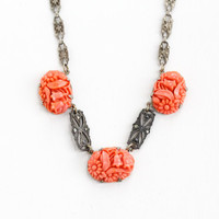 Antique Art Deco Sterling Silver Molded Glass & Marcasite Flower Necklace - Vintage 1930s Simulated Coral Floral Panel Filigree Jewelry