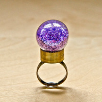 Globe Ring - Lilac glitter