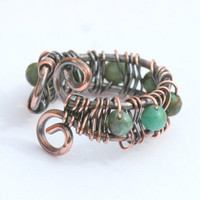 Copper and Turquoise Wire Wrapped Ring
