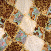 Jungle Babies Rag Quilt - Rosette Minky - Neutral - Boy or Girl - Cute Jungle Animals