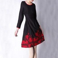 Cute black linen red Embroidered knee long dress by xiaolizi