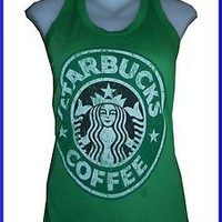 women youth shirt STARBUCKS COFFEE CASUAL SOFT COTTON free sz VINTAGE PRINT