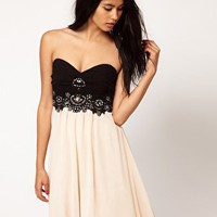 Little Mistress Embellished Bustier Prom Dress at asos.com