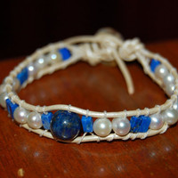 Freshwater Pearl and Lapis Wrapped Leather Bracelet with Swarovski Crystals, Perfect Gift For Her
