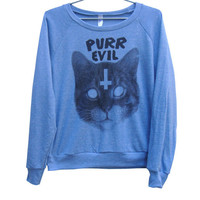 Purr Evil Cat Raglan WOMEN'S (ATTN: notate SIZE during checkout)