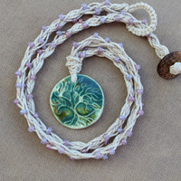 Tree of Life and Glass - Hemp Braided Necklace - Natural Bohemian Woodland