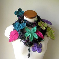Long and Leafy Scarf Tweedy Black with Teal by TheFaerieMarket
