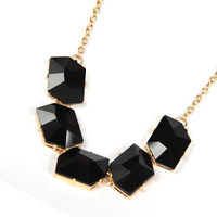 black gemstone tone cut gemstone tone pendant necklace  necklace gift for her
