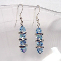 Aquamarine Crystal Earrings,  Love Knot Sterling Silver Earrings, Blue Earrings