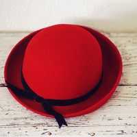 Vintage 1950s Red Wool and Velvet Bowler Hat.