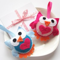 Felt Owls, Two Cute Pink And Blue O.. on Luulla